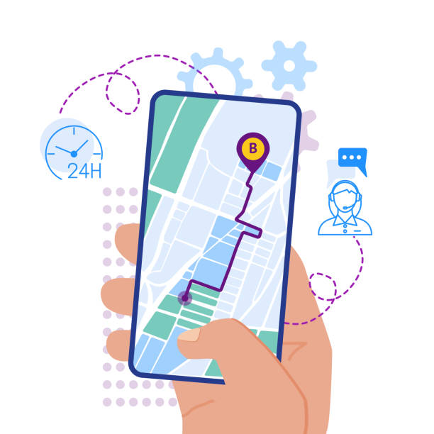 Mobile navigation app on screen flat design illustration Flat design vector illustration of hand holding smartphone with mobile navigation app on screen. Route map with symbols showing location of man. Global Positioning System concept design elements. global positioning system stock illustrations
