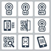 Mobile network and QR-code related vector icons set