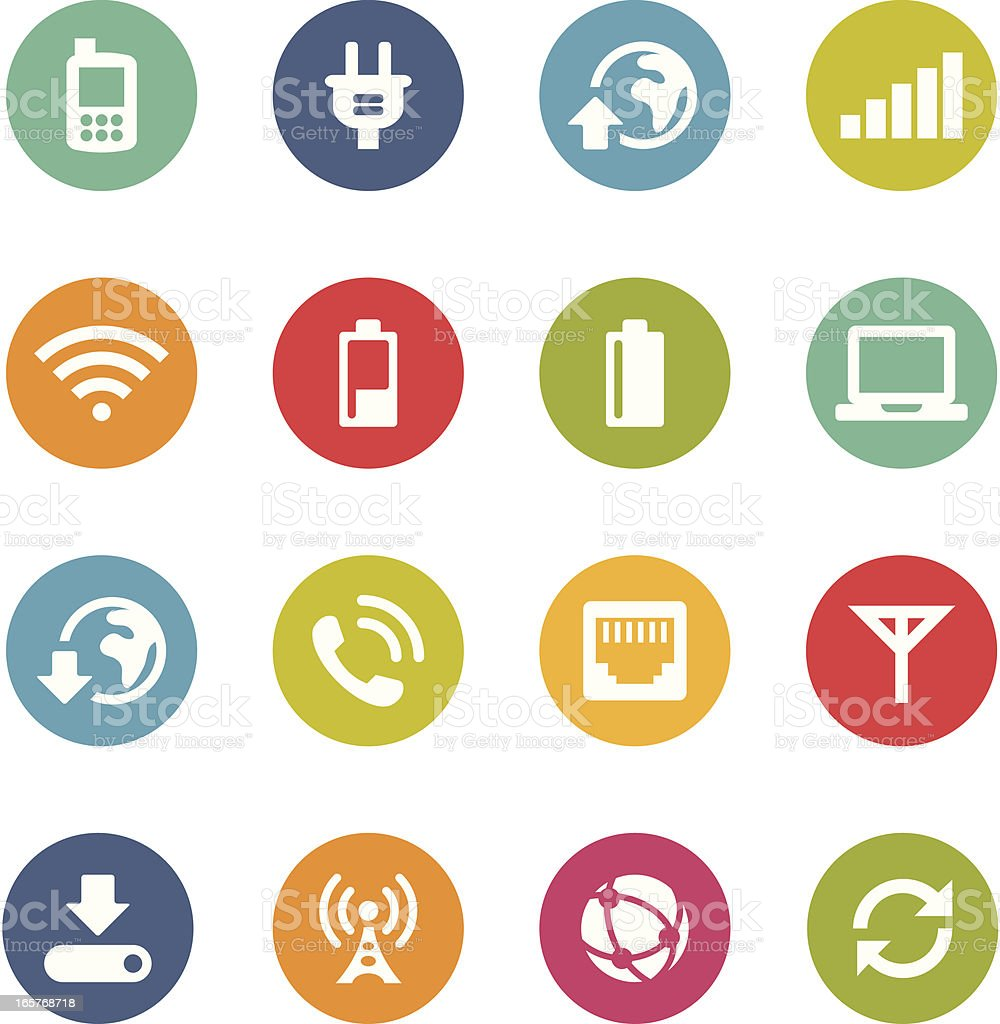Mobile Network Icons | Circle Series vector art illustration