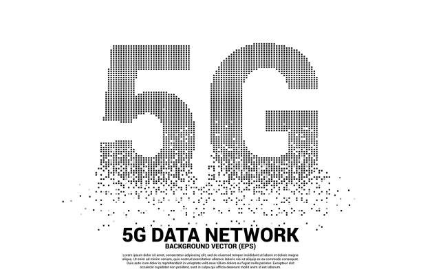 5G mobile networking from small square pixel. vector art illustration