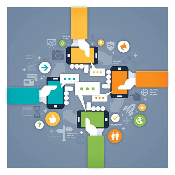 Mobile Networking vector art illustration