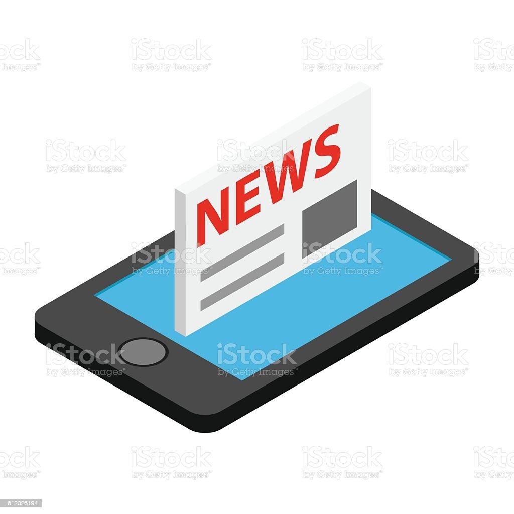 Mobile news isometric 3d icon vector art illustration