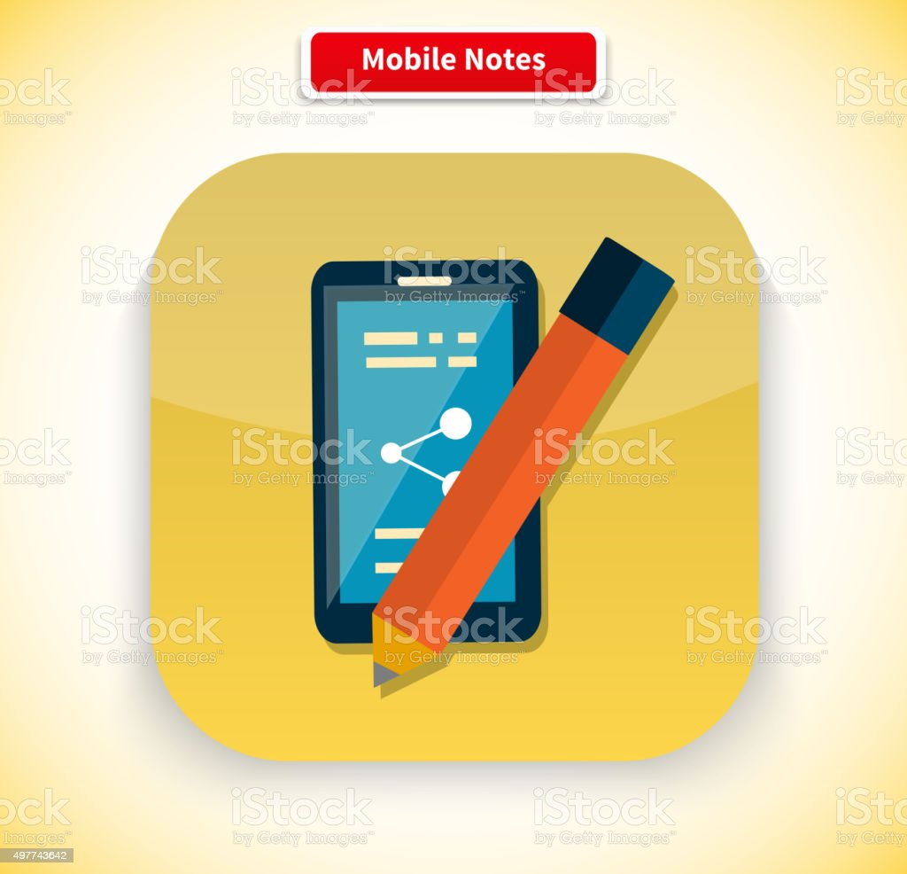 Mobile Notes App Icon Flat Style Design Stock Illustration