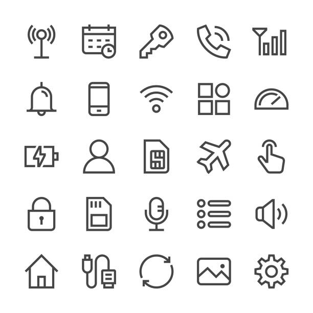 mobilen benachrichtigungssymbole - mediumx linie - fotografieanleitungen stock-grafiken, -clipart, -cartoons und -symbole