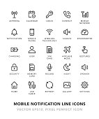 Mobile Notification Line Icons