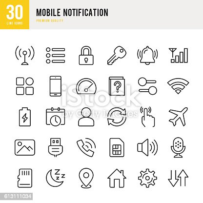 Mobile Notification set of thin line vector icons.