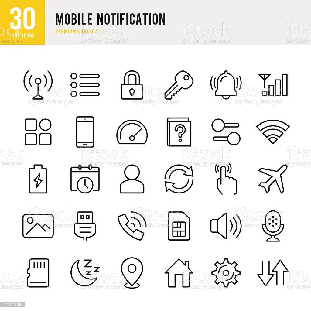 Mobile Notification  - set of thin line vector icons vector art illustration