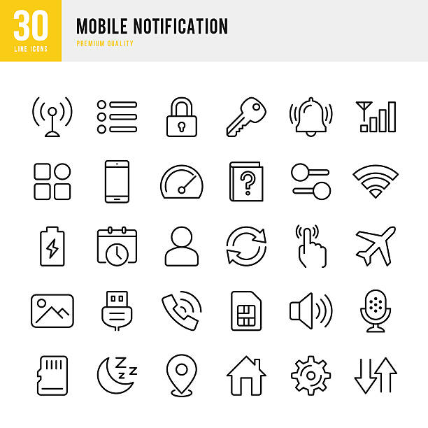 Mobile Notification  - set of thin line vector icons – Vektorgrafik