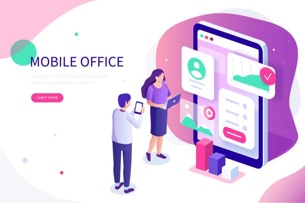 illustrazioni stock, clip art, cartoni animati e icone di tendenza di mobile office - man evolution