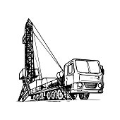 Mobile oil drilling complex. Sketch style drawing isolated on a white background.