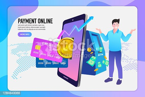 Mobile online banking and payment concept. Smart phone as ATM. money transfers, financial transactions and digital financial services.