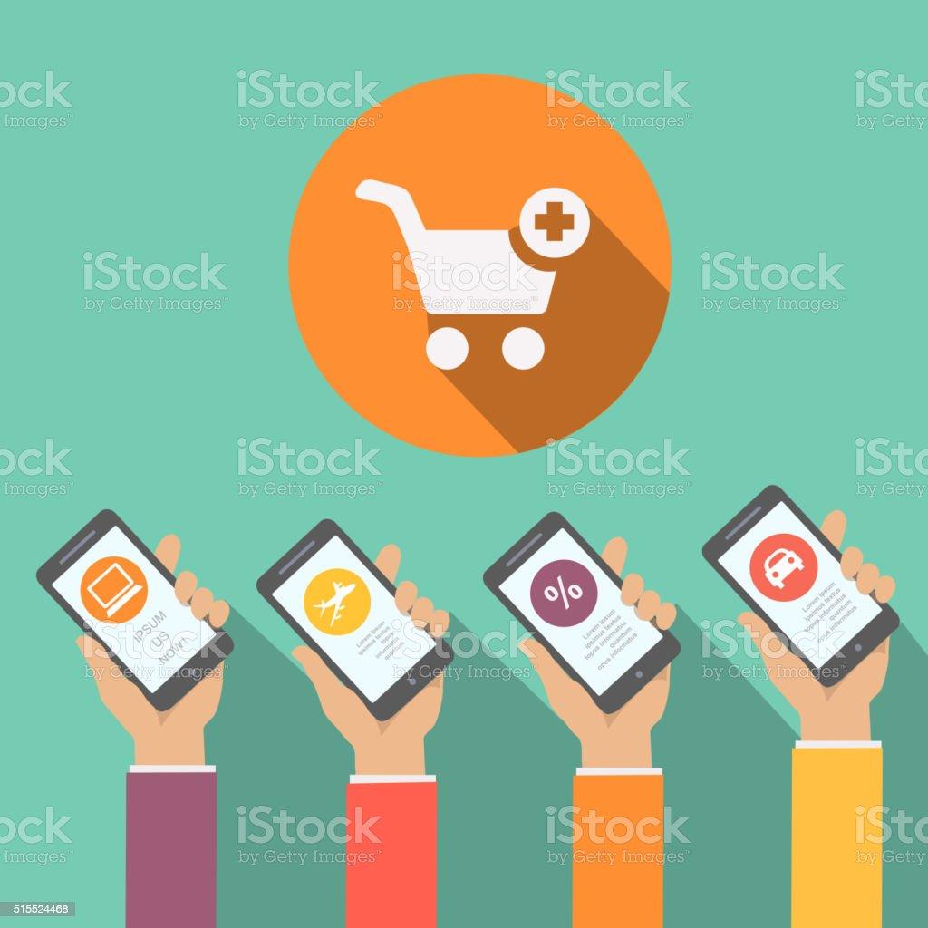 Mobile Online Shopping Apps In Flat Design Hands Holding