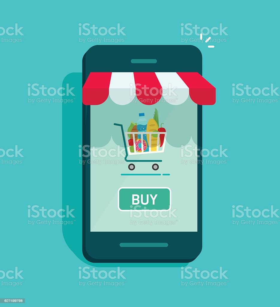 Mobile online store vector, smartphone storefront with shopping cart vector art illustration