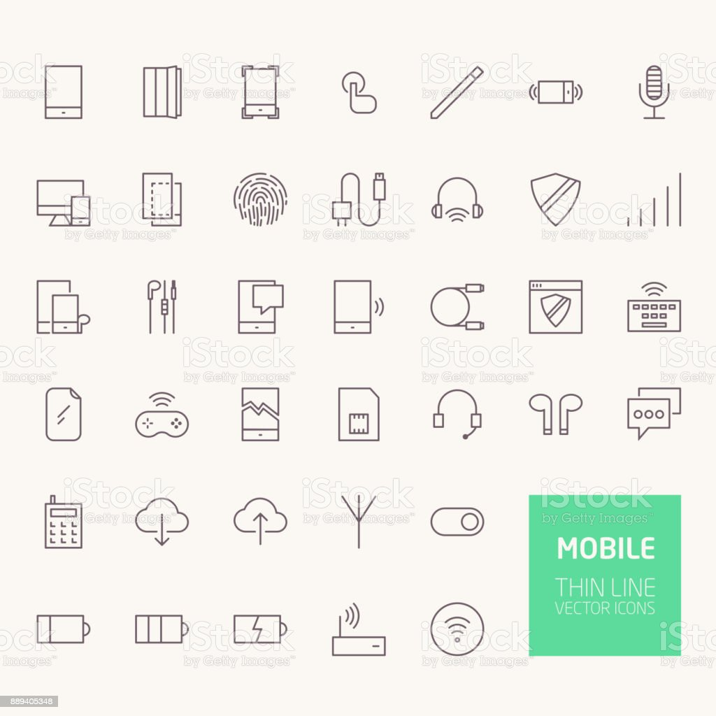Mobile Outline Icons for web and mobile apps vector art illustration