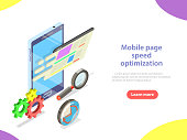 Mobile page speed optimization flat isometric vector concept. Decreasing loading time.