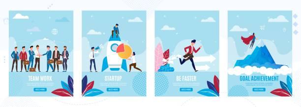 ilustraciones, imágenes clip art, dibujos animados e iconos de stock de páginas móviles para el inicio y crecimiento empresarial - mountain top