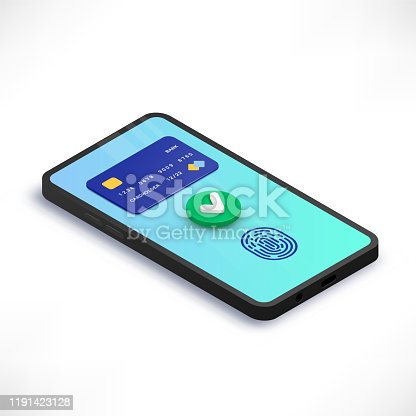 Mobile payment accepted isometric concept. 3d Smartphone with credit card, green yes check mark, fingerprint on screen. Success transaction, money transfer. Vector illustration