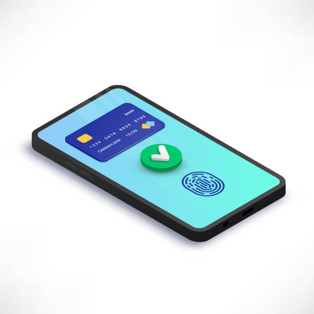 stockillustraties, clipart, cartoons en iconen met mobiele betaling accepteren isometrisch concept - mobiele betaling