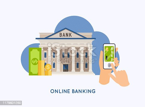 Mobile payment and mobile banking concept. Hands holding phones with virtual credit card. Internet banking, online purchasing and transaction, electronic funds transfers.