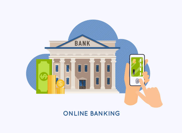 mobil ödeme ve mobil bankacılık konsepti. sanal kredi kartı ile telefon tutan eller. i̇nternet bankacılığı, online satın alma ve işlem, elektronik para transferleri. - bank stock illustrations