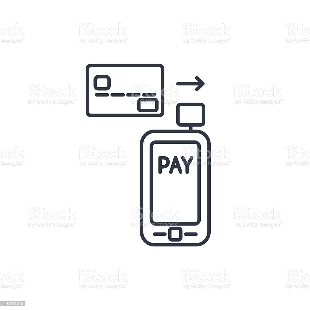 Mobile payment. card reader on smartphone scanning a credit card