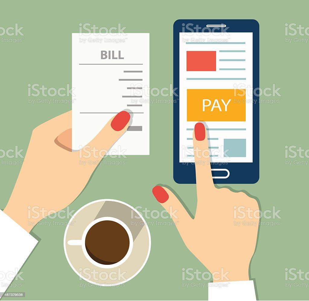 Mobile payment concept. flat vector illustration vector art illustration