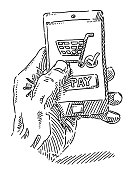 Mobile Payment Concept Hand Holding Smartphone Drawing