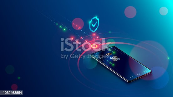 Mobile payment concept isometric banner. Security and protection contactless payment or via mobile phone with nfc chip. Shopping through smartphone with near field communication card