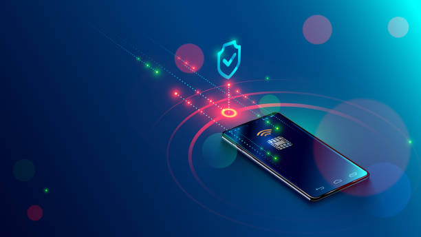 mobile payment concept isometric banner. security and protection contactless payment or via mobile phone with nfc chip. shopping through smartphone with near field communication card - płacić stock illustrations