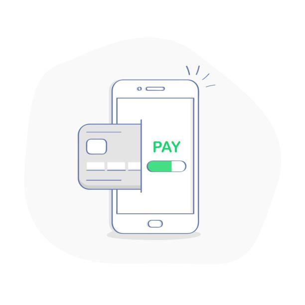 stockillustraties, clipart, cartoons en iconen met mobiel betalen concept, geld overmaken, geld transactie, betalen wireless - mobiele betaling
