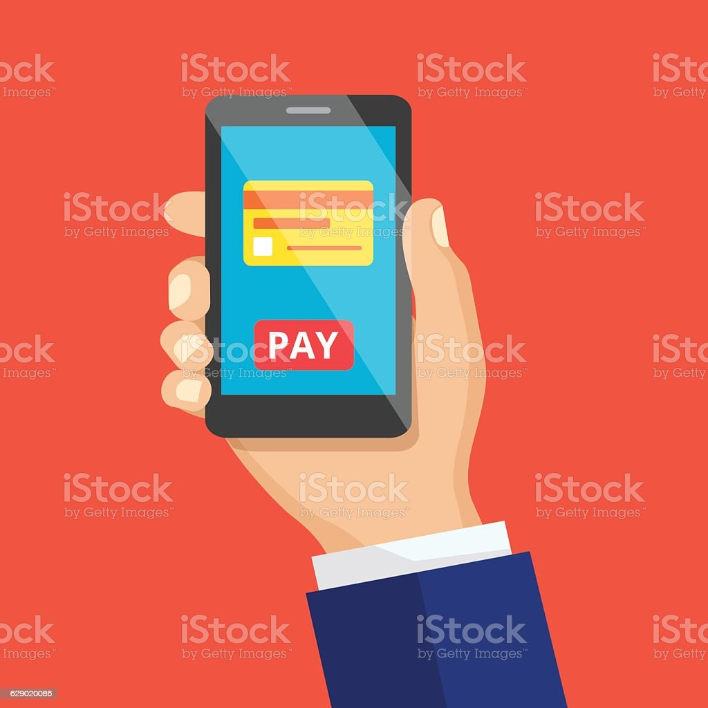 Mobile payment concept or make  shopping. Vector illustrat vektör sanat illüstrasyonu