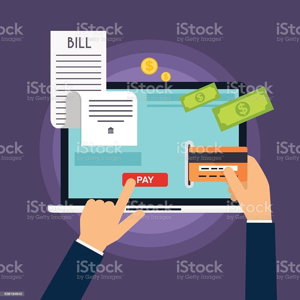 Mobile Paymentkonzept Festlegung Auf Rechnung Haufen Vektor ...