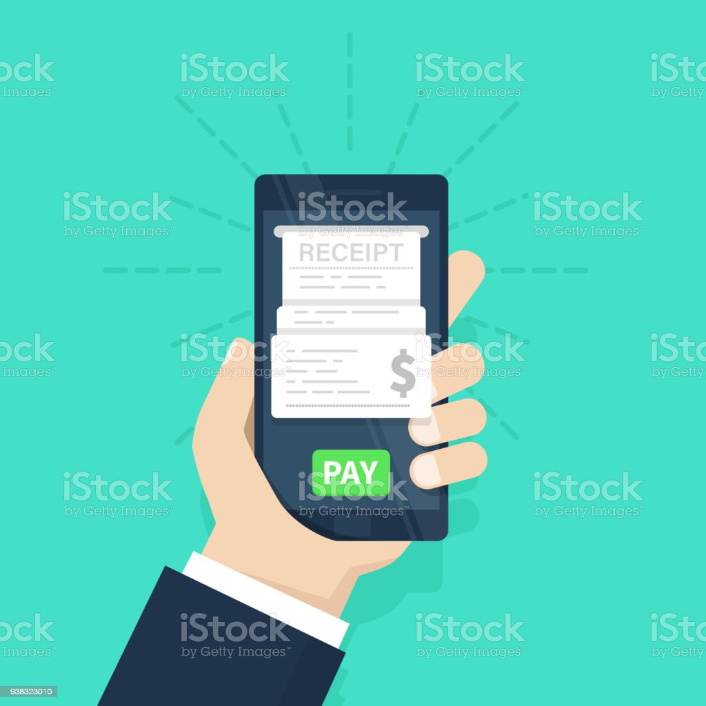 mobile payment concept receipt pay bills on line internet banking