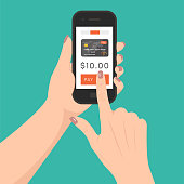 Mobile payment concept, vector. Women's hands holding smartphone and paying for something.