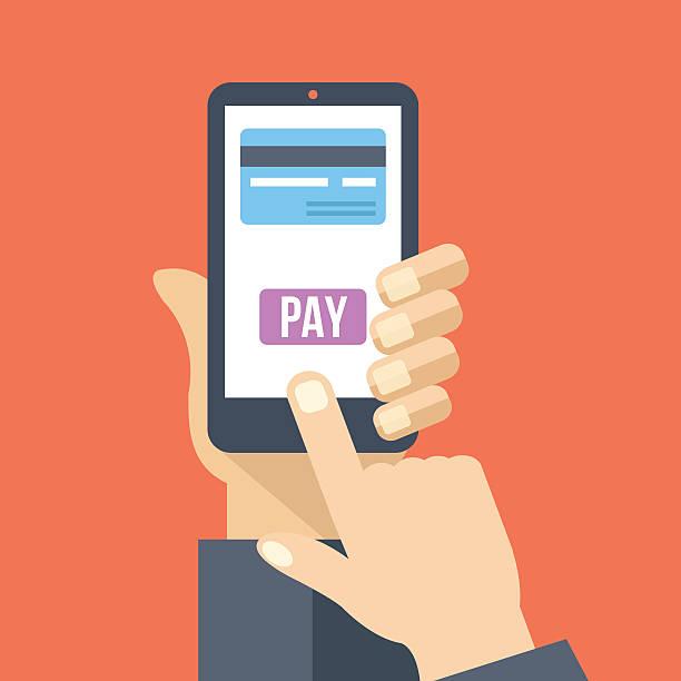 Mobile payment. Hand holds smartphone with online banking. Flat illustration vektör sanat illüstrasyonu