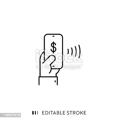 Mobile Payment Icon with Editable Stroke and Pixel Perfect.