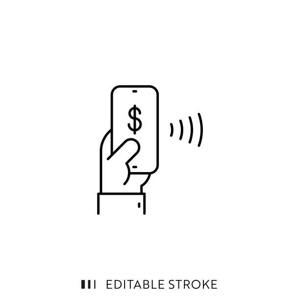 stockillustraties, clipart, cartoons en iconen met mobiel betaal pictogram met bewerkbare lijn en pixel perfect. - mobiele betaling