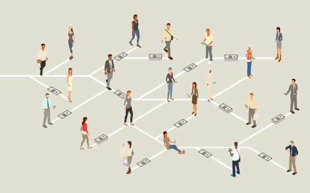 Mobile payment network illustration vector art illustration