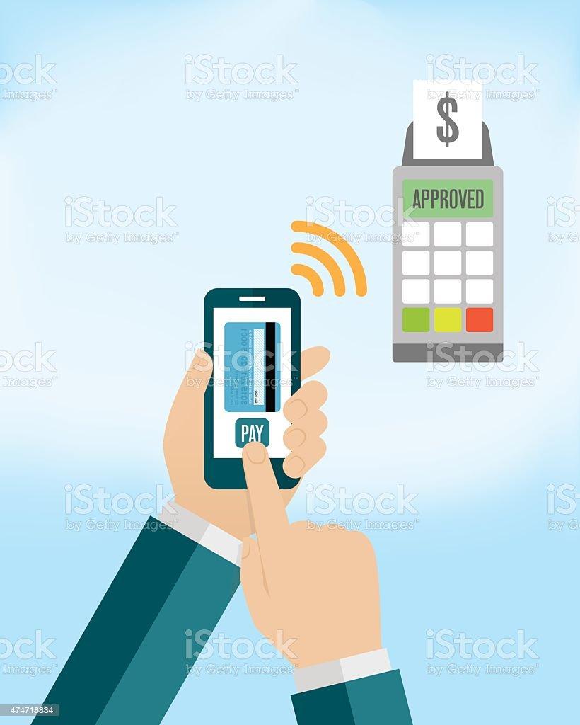 Pagamento móvel em Smartphone - ilustração de arte em vetor