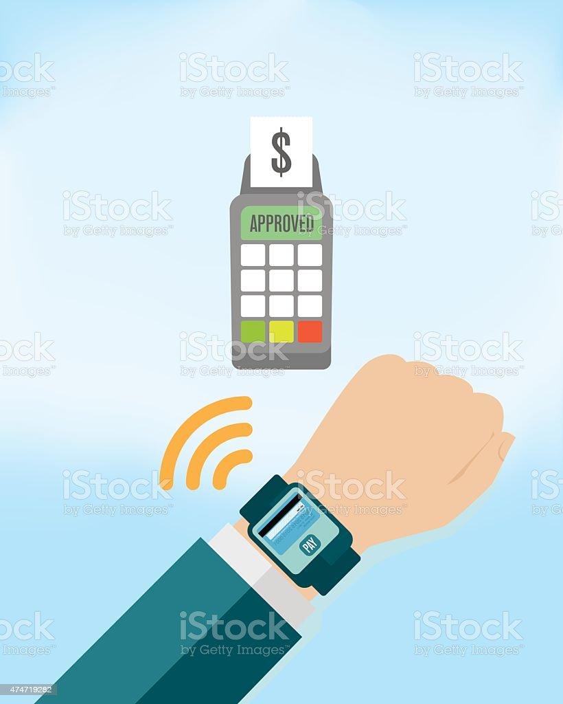 8bd5636506a9 Pago por móvil en Smartwatch ilustración de pago por móvil en smartwatch y  más vectores libres