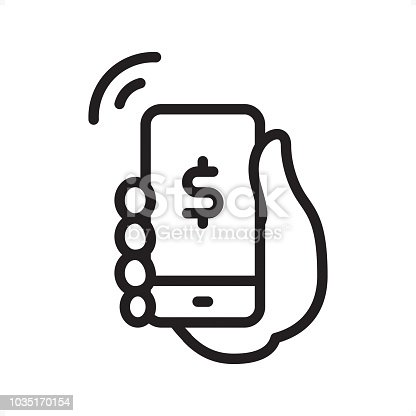 Mobile Payment — Professional outline black and white vector icon. Pixel Perfect Principle - icon designed in 64x64 pixel grid, outline stroke 2 px.  Complete Outline BW board — https://www.istockphoto.com/collaboration/boards/74OULCFeYkmRh_V_l8wKCg