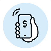 Mobile Payment — Professional outline style vector icon. Pixel Perfect Principle - icon designed in 64x64 pixel grid, outline stroke 2 px. Blue circle 80x80 px.  Complete Outline PRO icon board - https://www.istockphoto.com/collaboration/boards/r3MrrRaQskC97xh5LR9hsg