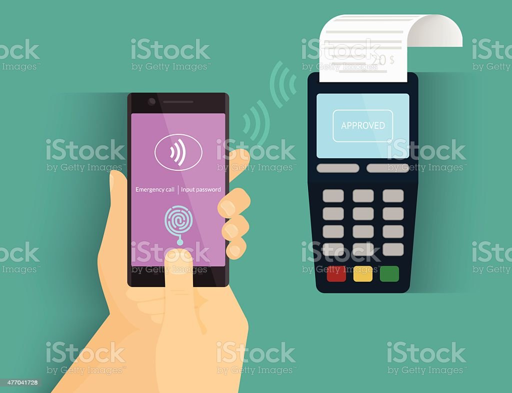 Mobile payment vector art illustration