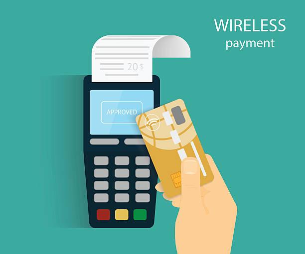 ilustrações de stock, clip art, desenhos animados e ícones de pagamento móvel - paying with card