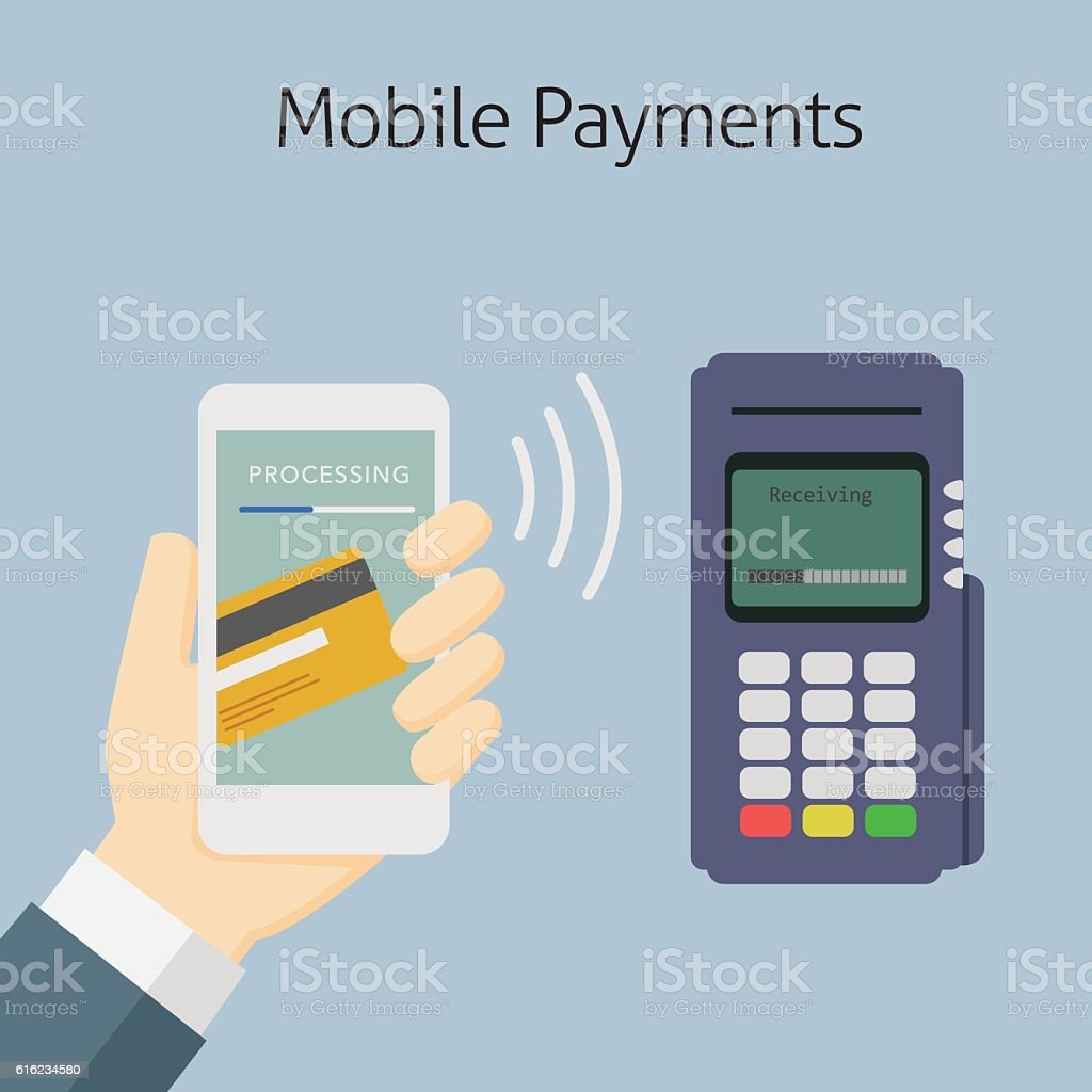 Mobile Payment With NFC Technology vector art illustration