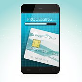 Modern payment with smartphone vector illsutration. EPS10. This illustration contains transparent and blending mode objects. Included files; Aics3 and Hi-res jpg.