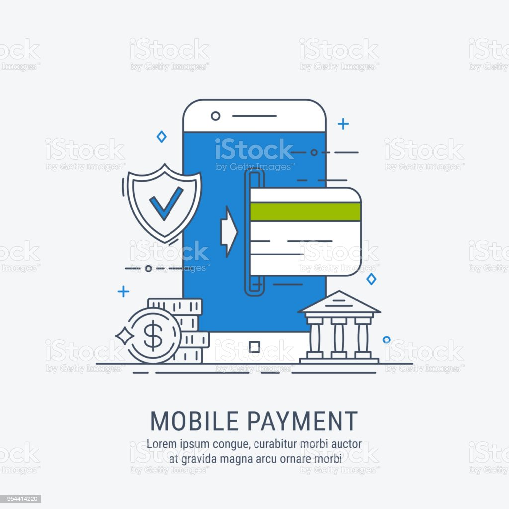 Mobile payments illustration vector art illustration