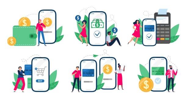 Mobile payments. People with smartphones send money transfers, POS-terminal payment and financial transactions vector illustration set vector art illustration
