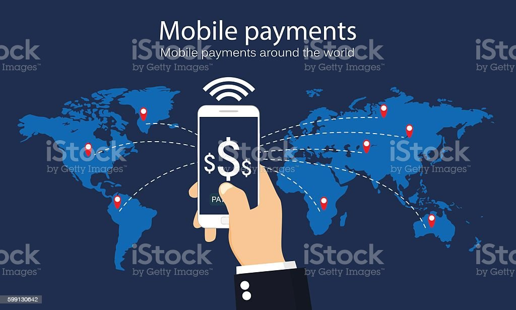 Mobile payments vector art illustration