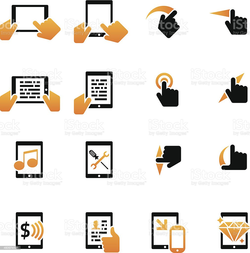 Mobile PC and Tablet Icons vector art illustration